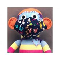 Hickups Fabric Mask KIDS Animals dark blue