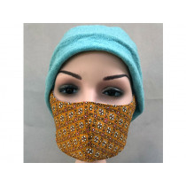 Hickups Fabric Mask ADULTS FEMALE Flowers ochre