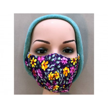 Hickups Fabric Mask ADULTS FEMALE Flowers yellow/purple