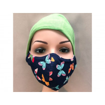 Hickups Fabric Mask ADULTS FEMALE Butterfly blue