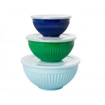 RICE 3 Melamine Bowl Set FAVORITE COLORS blue