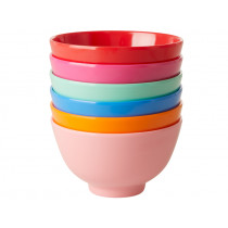 RICE 6 Small Melamine Bowls CHOOSE HAPPY