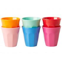 RICE 6 Melamine Espresso Cups CHOOSE HAPPY