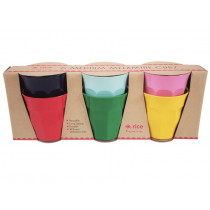 RICE 6 Melamine Cups ASSORTED COLORS