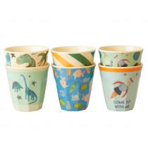 RICE 6 Small Melamine Cups DINOSAURS