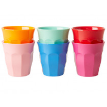 RICE 6 Melamine Cups CHOOSE HAPPY Colors