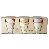 RICE 6 Small Melamine Cups CHOOSE HAPPY
