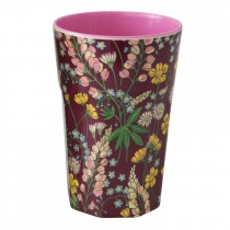 RICE Tall Melamine Cup LUPIN PRINT bordeaux