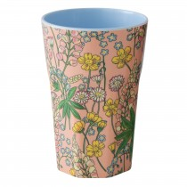 RICE Tall Melamine Cup LUPIN PRINT coral
