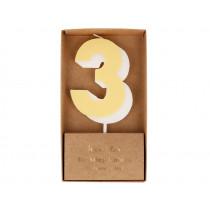 Meri Meri Birthday Candle 3 pastel yellow