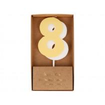 Meri Meri Birthday Candle 8 pastel yellow