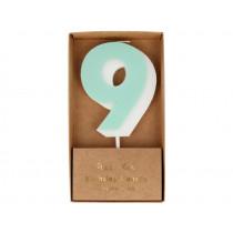 Meri Meri Birthday Candle 9 mint