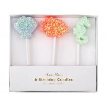 Meri Meri 6 Glitter Candles SEA CREATURES