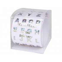 Meri Meri 500 Ministickers on a Roll ALPHABET SILVER