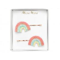 Meri Meri 2 Hair Slides GLITTER RAINBOWS