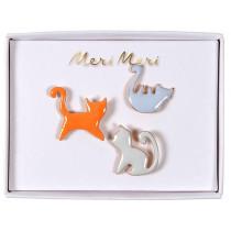 Meri Meri 3 Enamel Pins CATS