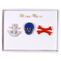 Meri Meri 3 Enamel Pins PIRATE