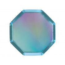 Meri Meri 8 Cocktail Party Plates HOLOGRAPHIC BLUE