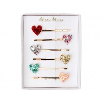 Meri Meri 6 Hair Slides GLITTER HEARTS