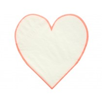 Meri Meri Small Napkins Coral Heart Outline