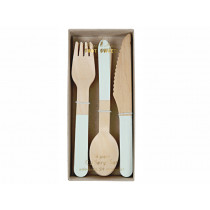 Meri Meri 24 Piece Wooden Cutlery Set PALE MINT