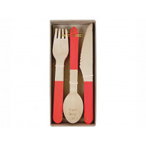 Meri Meri 24 Piece Wooden Cutlery Set RED