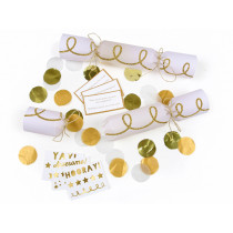 Meri Meri 6 Small Party Confetti Crackers GOLD TWIST