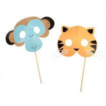 Meri Meri 8 Party Masks GO WILD Monkey & Tiger