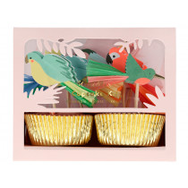 Meri Meri 24 Cupcake Set TROPICAL BIRDS