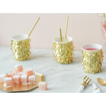 Meri Meri 8 Party Cups GOLD FRINGE