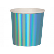 Meri Meri 8 Tumbler Party Cups HOLOGRAPHIC BLUE