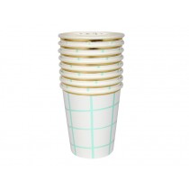 Meri Meri Party Cups Grid Mint