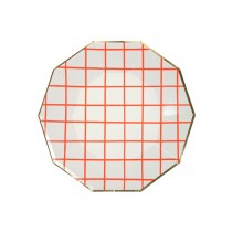 Meri Meri Large Party Plates GRID neon coral