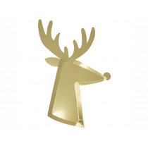 Meri Meri 8 Party Plates REINDEER Gold