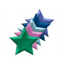 Meri Meri 8 Large Plates STARS Metallic
