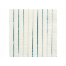 Meri Meri 16 Large Napkins HOLOGRAPHIC BLUE stripes