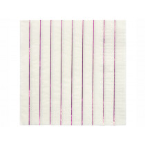 Meri Meri 16 Large Napkins METALLIC PINK stripes