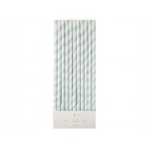 Meri Meri 24 Paper Straws MINT & WHITE