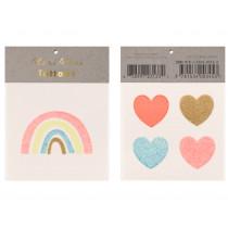 Meri Meri 2 Small Tattoos RAINBOW & HEARTS