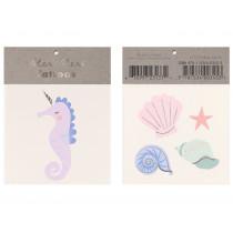 Meri Meri 2 Small Tattoos SEAHORSE & SHELLS