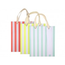 Meri Meri Small Party Gift Bags STRIPES neon