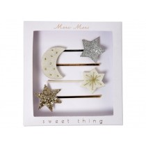 Meri Meri 4 Hair Slides MOON & STARS