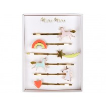 Meri Meri 6 Hair Pins Unicorns neon