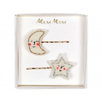 Meri Meri 2 Hair Slides MOON & STAR