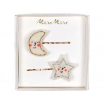 Meri Meri 2 Hair Slides MOON & STAR