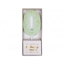 Meri Meri Birthday Candle 0 mint glitter