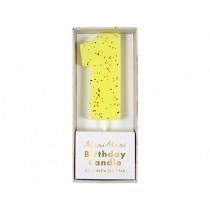 Meri Meri Birthday Candle 1 yellow glitter