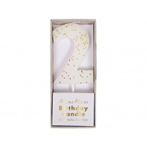Meri Meri Birthday Candle 2 white glitter