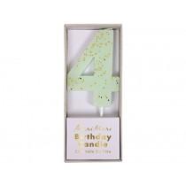 Meri Meri Birthday Candle 4 mint glitter