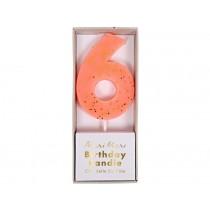 Meri Meri Birthday Candle 6 peach glitter